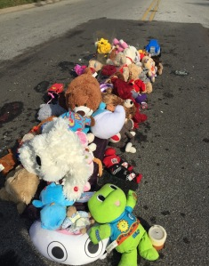The spot in the middle of the street...covered with teddy bears.